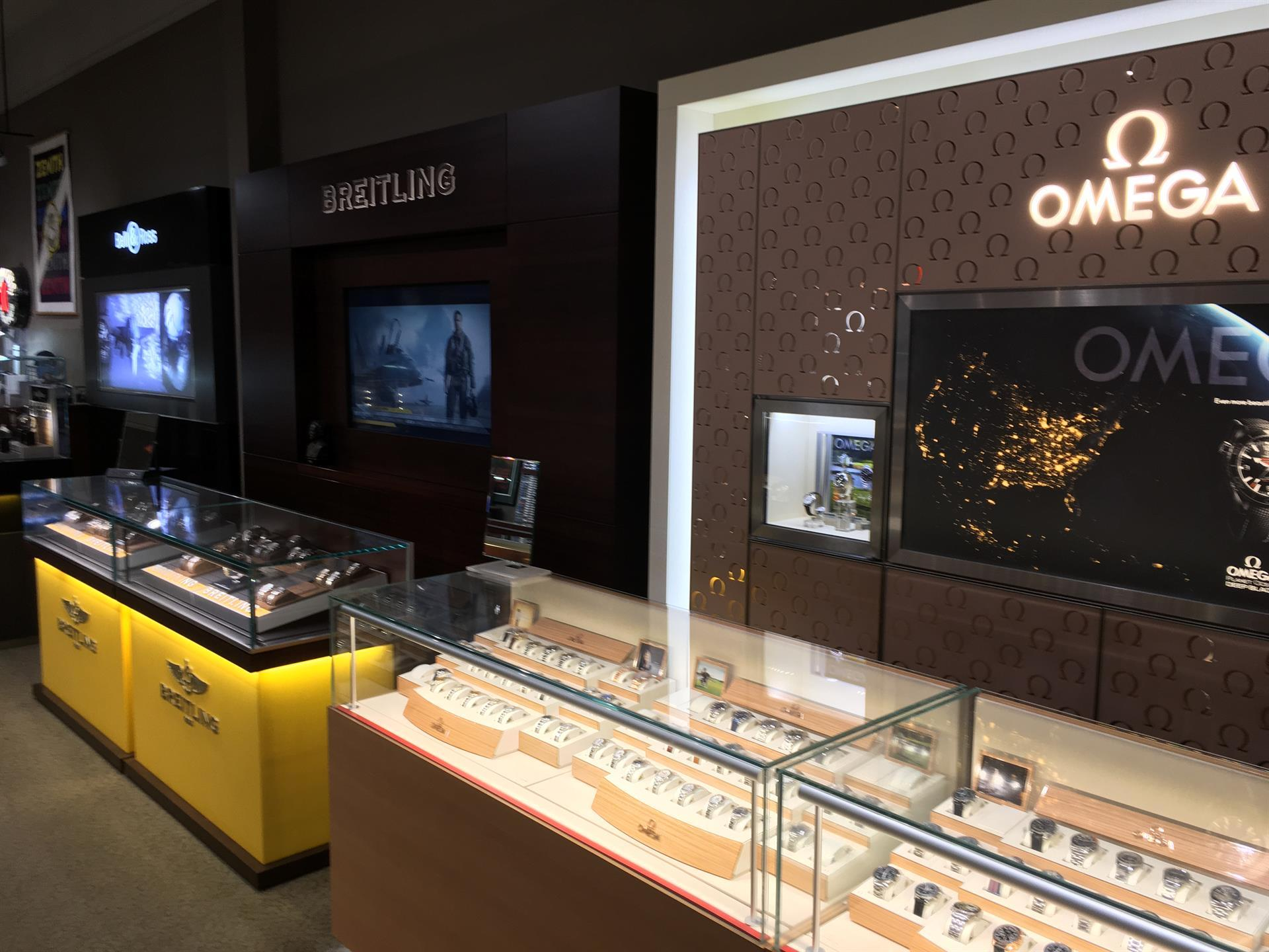 watchworks store breitling and omega displays